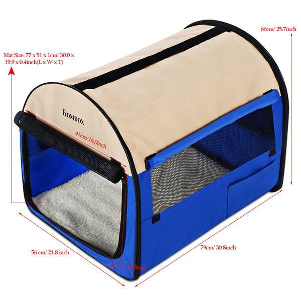 32inch Blue Oxford Portable Folding Pet Dog Soft Carrier Cage Home Crate Case 2