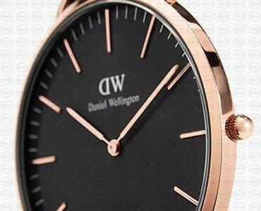 36MM 0150DW 黑錶面玫瑰金邊 簡約尼龍錶帶 瑞典正品代購 Daniel Wellington 對錶手錶腕錶 1