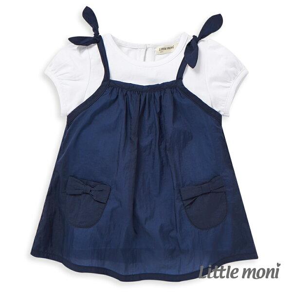 Littlemoni女孩兩件式上衣-深藍