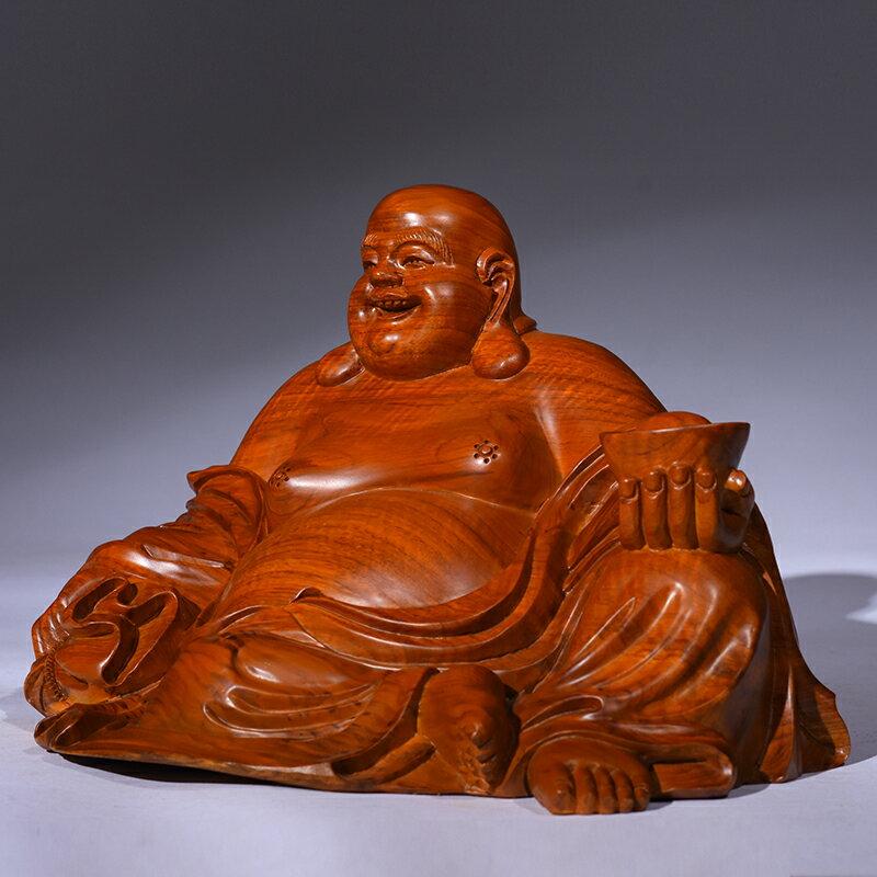 木雕彌勒佛像擺件紅木花梨實木招財坐笑佛居家客廳裝飾鎮宅工藝品