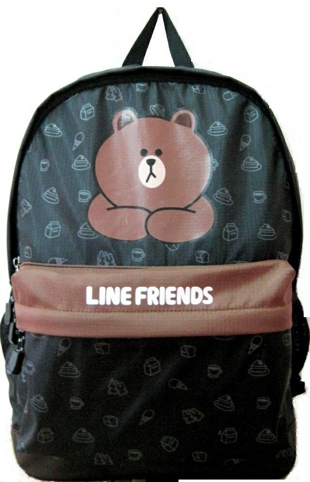 【禾宜精品】正版授權 Line Friends 熊大 黑色 休閒背包 書包 LI-5456-A [生活百貨]