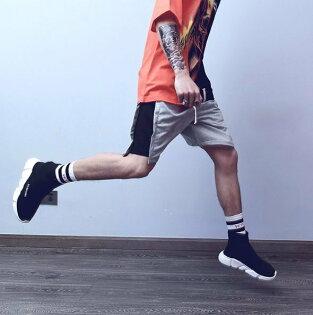 FINDSENSEZ1韓國男時尚街頭嘻哈休閒寬鬆撞色拼接休閒褲短褲運動褲