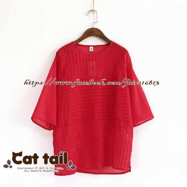 《貓尾巴》LZ-03060韓版圓領風琴摺短袖上衣(森林系日系棉麻文青清新)