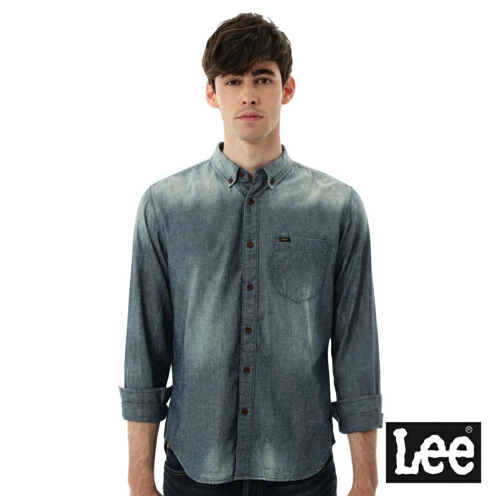 Lee 牛仔襯衫 棉點竹節深淺漸層 -男款-中古淺藍 0