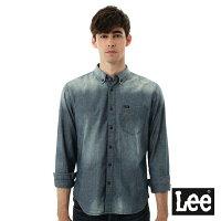 Lee 牛仔襯衫 棉點竹節深淺漸層 -男款-中古淺藍-Lee Jeans tw-潮流男裝