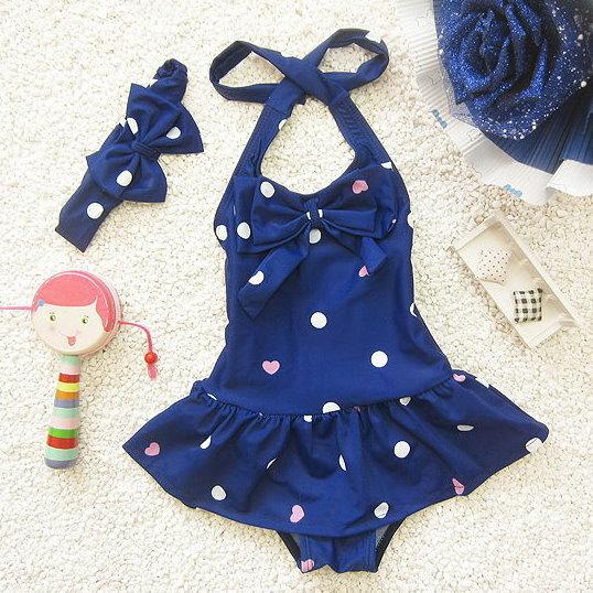 兒童嬰兒波點可愛連體裙式游泳衣寶寶女童泳裝+髮帶-藍色款