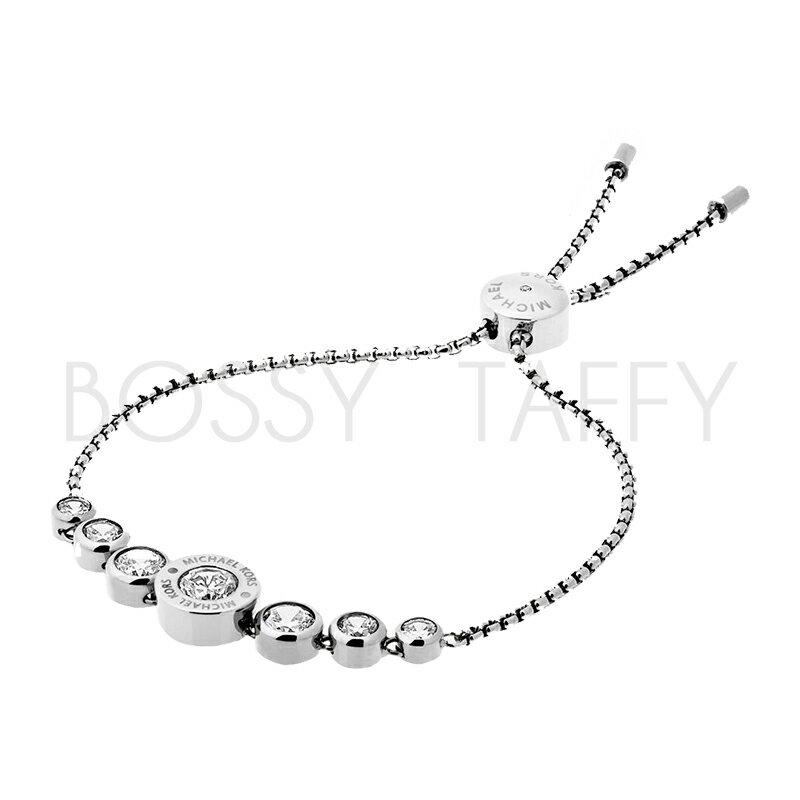 MICHAEL KORS 經典銀鑲鑽可調式手鍊 MK Cubic Zirconia Silver-Tone Slider Bracelet