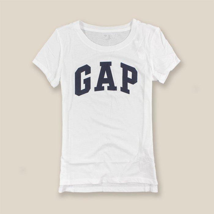 美國百分百【全新真品】GAP T恤 T-SHIRT 短袖 上衣 logo 圓領 純棉 白色 S號 女 H920