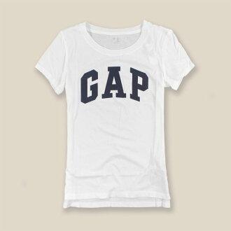 美國百分百【全新真品】GAP T恤 T-SHIRT 短袖 上衣 logo 圓領 純棉 白色 XS S號 女 H920
