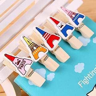 =優生活=zakka歐美風格巴黎鐵塔 艾菲爾鐵塔原木小木夾 創意相片夾 12枚/套 附麻繩