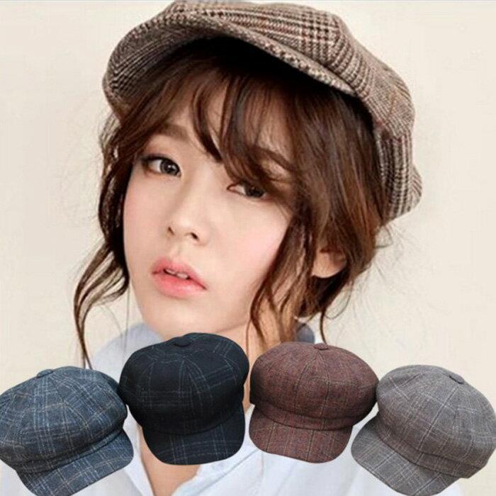 糖衣子輕鬆購【DZ0457】日系英倫風復古文藝格子八角帽畫家帽貝雷帽 - 限時優惠好康折扣