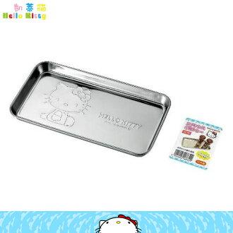 日本製 凱蒂貓 Hello Kitty 不鏽鋼置物盤小物盤 餅乾盤烘焙盤 小鐵盤角型 日本進口正版 168399