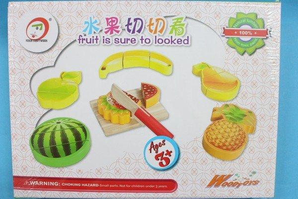 木製水果切切樂 YF9776 原木水果切切看 家家酒小廚師玩具(實木)/一盒入{促400}