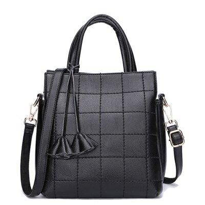 手提包真皮肩背包-歐美時尚格紋純色女包包6色73se34【獨家進口】【米蘭精品】