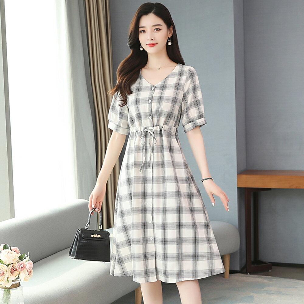 森女系法式長裙復古格子連身裙洋裝(黑白格S~XL)*ORead* - 限時優惠好康折扣