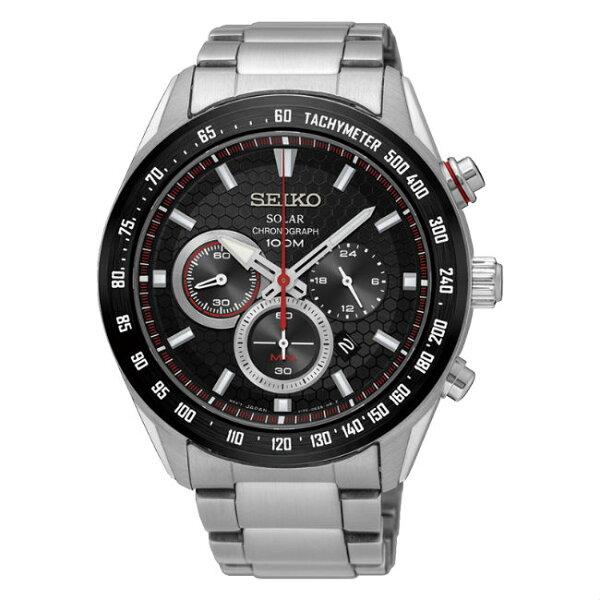 SeikocriteriaV175-0EE0D(SSC579P1)及致競速款太陽能計時腕錶黑面43.6mm