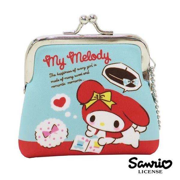 藍色款【日本進口】美樂蒂 My Melody 小型 防震棉 珠扣包 零錢包 三麗鷗 Sanrio - 439507