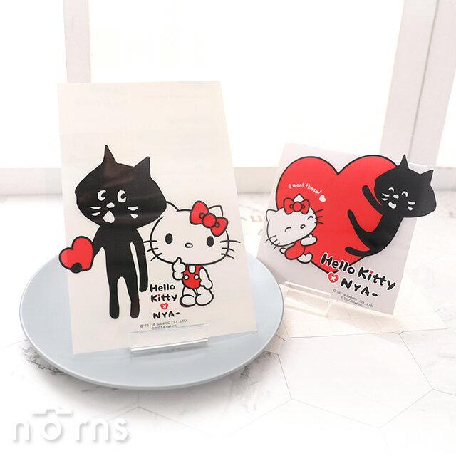 【Hello Kitty×NYA-貓透明造型貼紙】Norns 防水貼紙 行李箱 裝飾貼紙 大款 KN聯名 凱蒂貓 正版授權 日本黑貓咪三宅一生