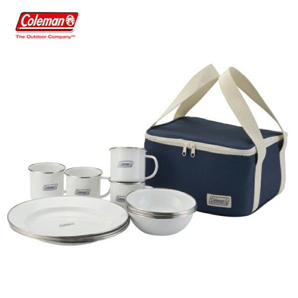 【露營趣】中和安坑ColemanCM-32362四人份琺琅餐盤組環保餐具餐具組碗盤子杯子