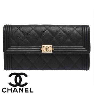 全店20倍點數│【CHANEL】香奈兒 Chanel boy 歐洲代購商品 荔枝皮信封式金扣 長夾 艾莉波波