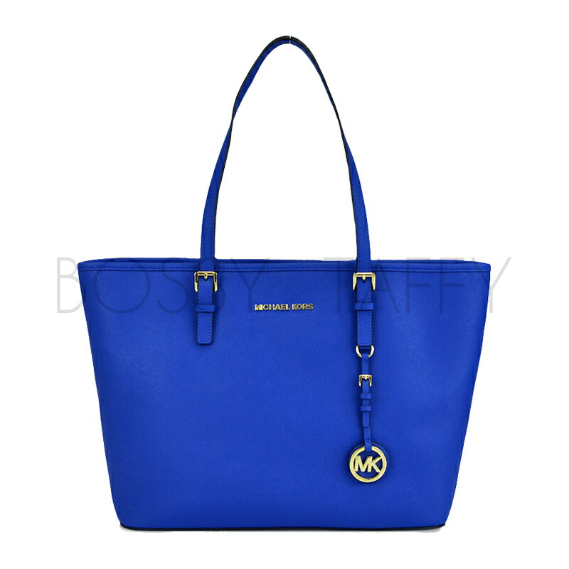 <br/><br/>  MICHAEL KORS 30S4GTVT2L 電光藍皮革金色Logo吊飾肩背托特包 Jet Set Travel Saffiano Leather Top-Zip Tote Electric blue<br/><br/>