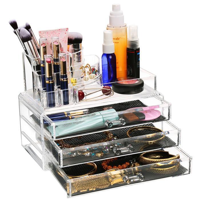 Acrylic Desktop Cosmetic 3 Drawers Grids Multi Tiers Display Storage 1
