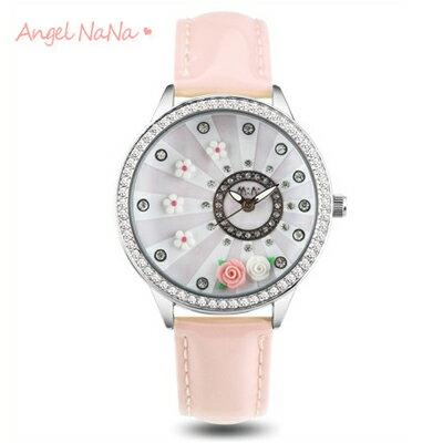 AngelNaNa 韓國100^%正品 軟陶錶 童話‧立體粉雕女手錶.畢業 ‧情人節 ~旋
