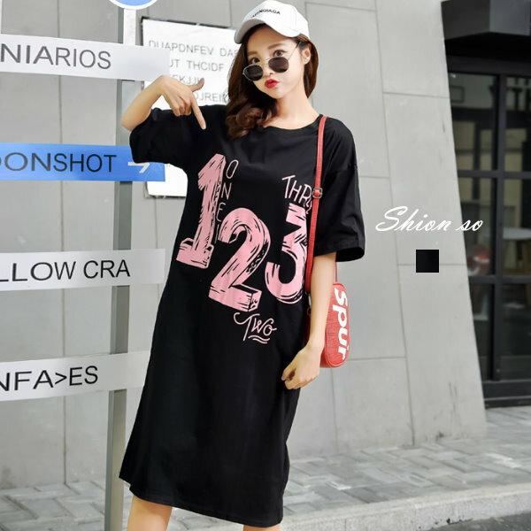 享瘦衣舍中大尺碼‧【B7123】韓風數字印花洋裝