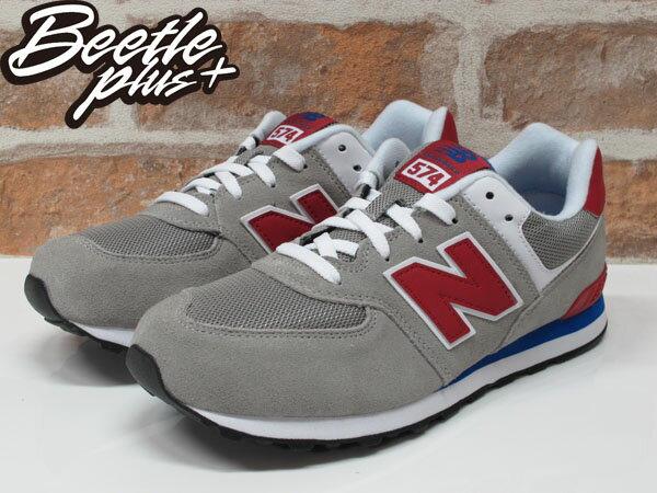 BEETLE NEW BALANCE 574 灰紅 灰藍 麂皮 網布 復刻 復古 休閒 慢跑鞋 運動鞋 KL574LTG 1