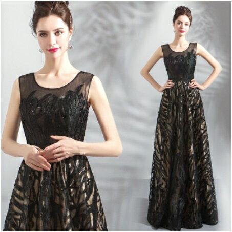 天使嫁衣【AE3096】黑色織網雙層美感收腰顯瘦長禮服˙預購訂製款