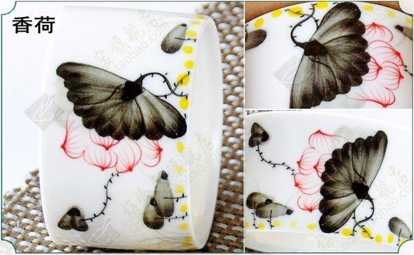 手繪茶杯 高白茶杯手繪青花瓷茶杯功夫茶具 直身杯普洱杯(一個價)(圖一)