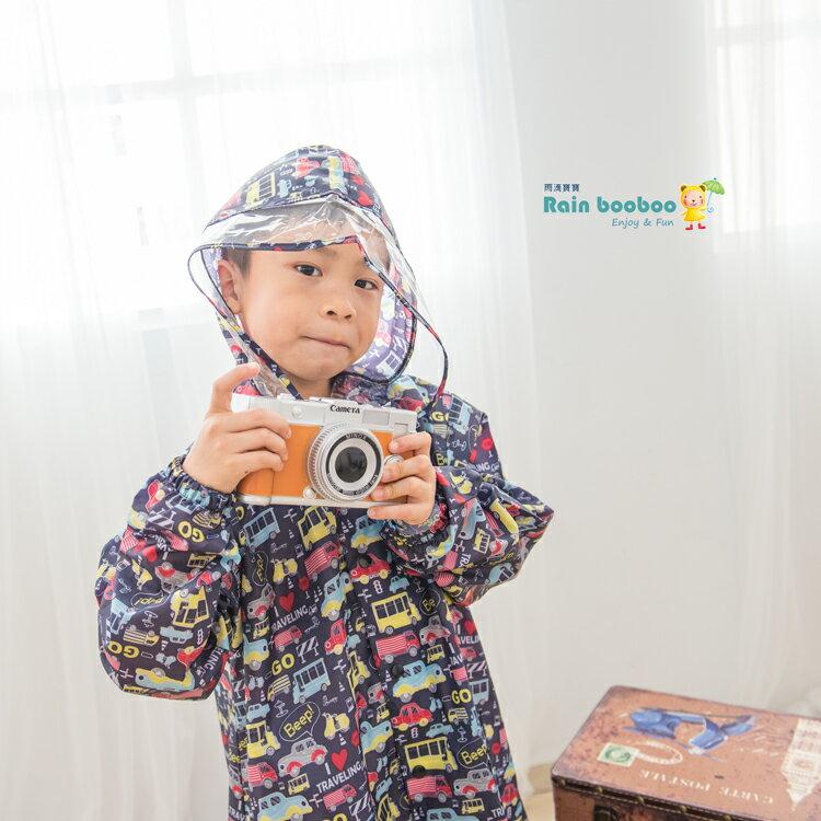 ◎Rainbooboo雨滴寶寶◎黑底汽車 兒童風雨衣【M1004】