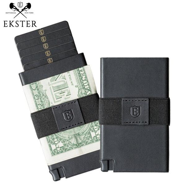 Ekster荷蘭x紐約設計品牌簡約真皮RFID防盜信用卡夾黑色