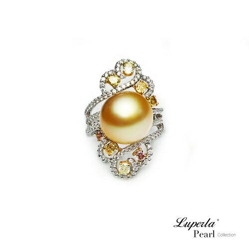 大東山珠寶 燦爛月光 頂級真鑽18K白金南洋金珍珠戒指 0