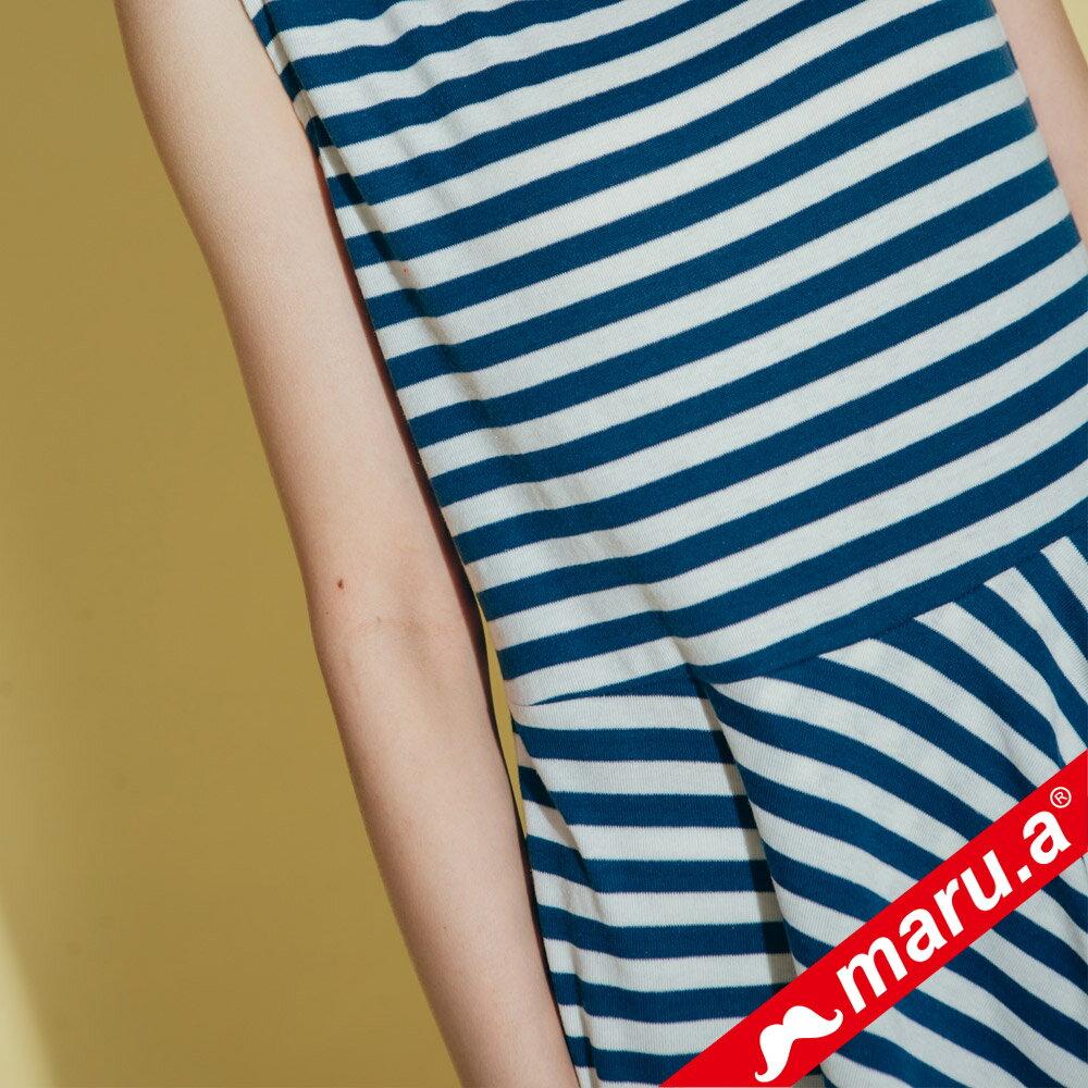 【maru.a】不規則下擺條紋上衣  8321312 5