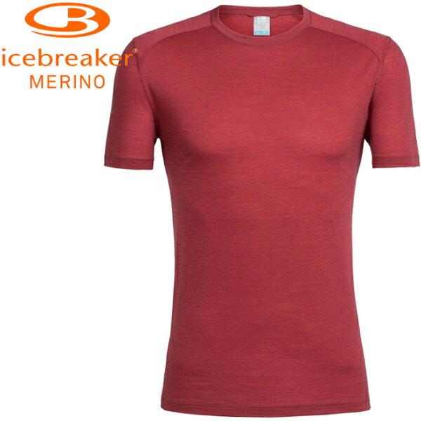 Icebreaker排汗衣短袖T恤美麗諾羊毛天絲混紡JN-130Cool-Lite男款圓領短袖103608601鋼鐵紅