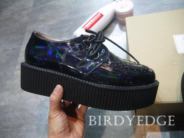 BIRDYEDGE麂皮雷射亮皮皮革多款設計5CM歐美高端街頭厚底鞋鬆糕鞋增高鞋厚底男女