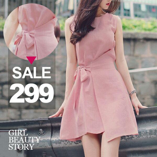SISI【D8067】甜美粉嫩襯膚圓領無袖背心蝴蝶結繫帶縮腰氣質連身裙洋裝
