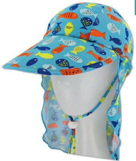 夏季兒童帽子護頸防曬沙灘帽男童寶寶防曬游泳帽-多魚款