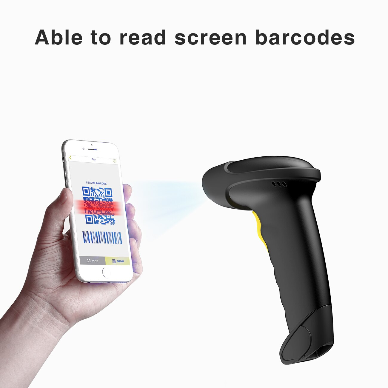 Inateck 2D Wireless Bluetooth Barcode Scanner, Read Barcodes on Displays,  Black