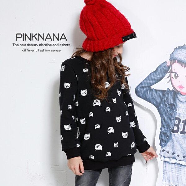 PINKNANA童裝 兒童黑色貓咪厚刷保暖長袖上衣 親子裝32193