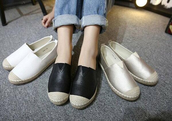 Pyf♥輕便懶人鞋草編漁夫鞋平底樂福鞋小白鞋43大尺碼女鞋