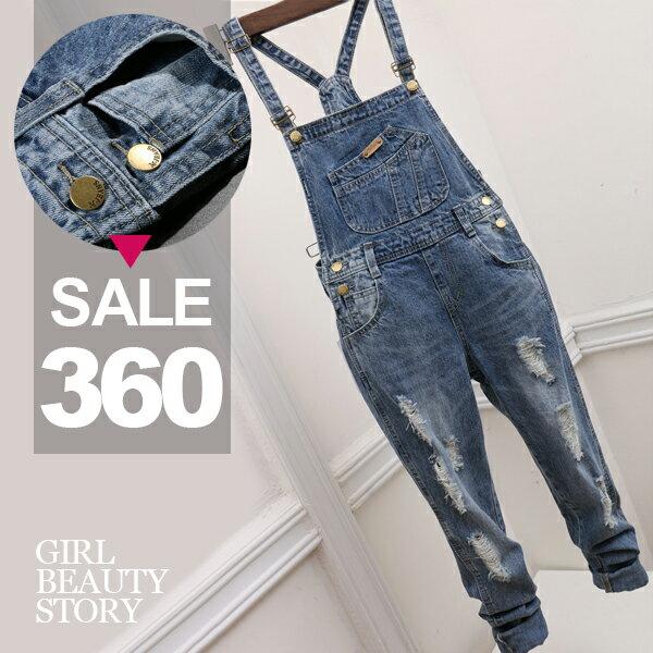 SISI【J8003】刷舊復古破洞毛邊顯瘦修身休閒單寧牛仔連體褲丹寧牛仔吊帶褲