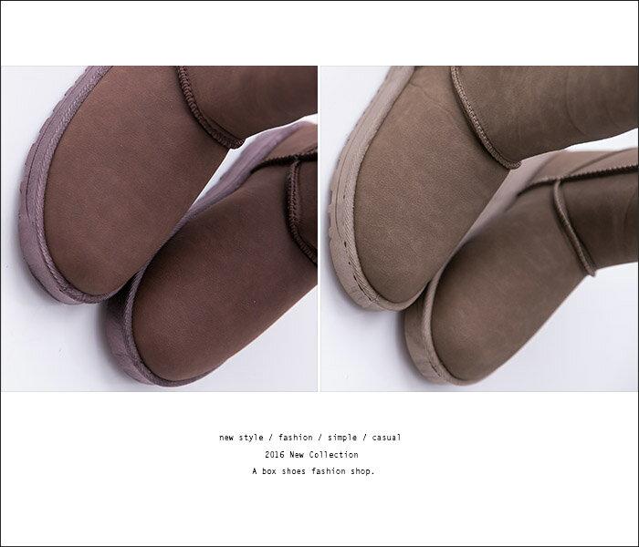 格子舖*【KN5568】寒冬嚴選厚毛料 防水皮革經典基本款素面20CM中筒可反摺防滑膠底雪靴 雪地靴 3色 2