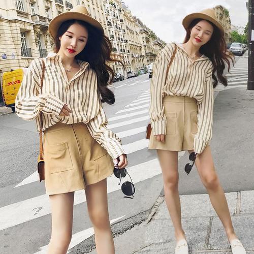 SaSa韓系復古小香風洋氣chic配寬口褲時尚套裝長袖褲裝