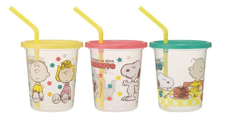 X射線【C345760】史努比防漏塑膠吸管學習杯(3入),水瓶/隨身瓶/直飲水壺/學習杯