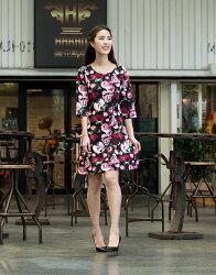 【JL JOCELIN】七分寬袖印花洋裝-花朵