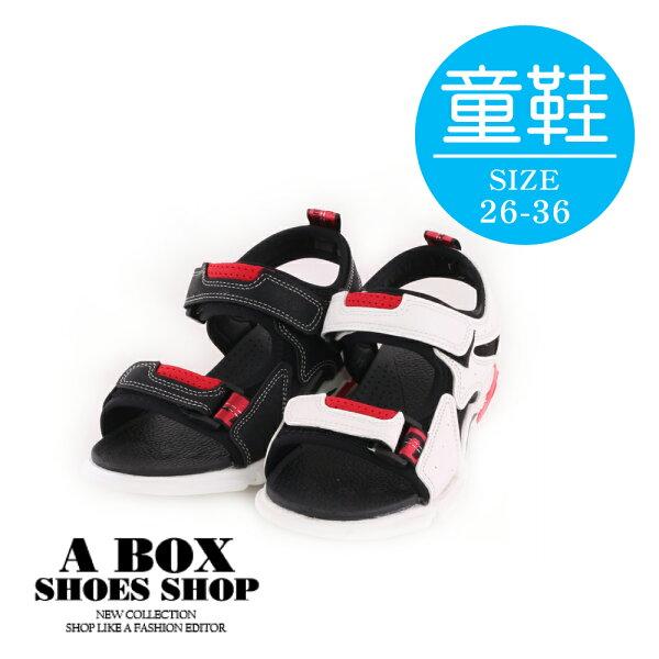 【AJ66062】(童鞋26-36)休閒百搭撞色涼鞋涼拖鞋魔鬼氈黏扣帶2色2CM