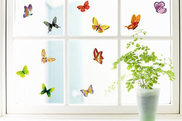 BO雜貨【YP1457】DIY組合可移動壁貼 牆貼 壁貼 創意壁貼 背景貼 磁磚貼 繽紛彩蝶