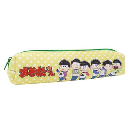 黃色款【日本正版】阿松 小松先生 長型 防震 筆袋 鉛筆盒 長筆袋 - 451417
